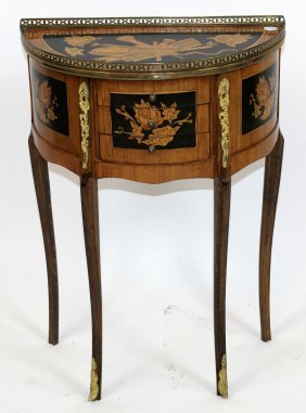 Demi-lune Side Table On Legs In Musical Motif