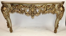 Rococo Style Silver & Gold Painted Console