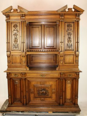 French Renaissance Walnut Cabinet With Relief Carved
