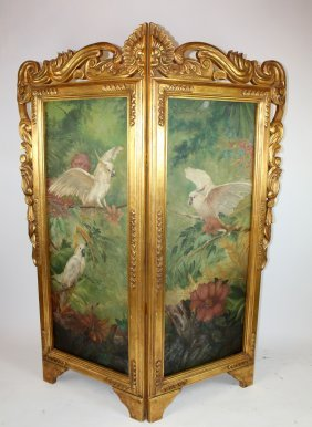 Gilt Wood 2 Panel Screen With Painting Of Birds