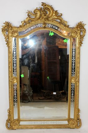 French Louis Xv Gold Leaf Mirror