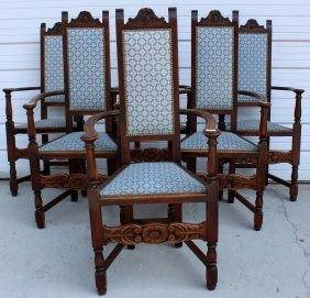 Set Of 6 French Renaissance Armchairs