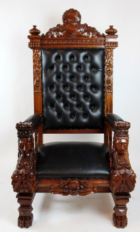 Carved Mahogany Throne Chair With Winged Sphinxes