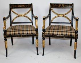 Pair Sherrill Empire Style Ebonized Armchairs