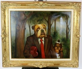 Oil On Canvas Bulldog & Monkey