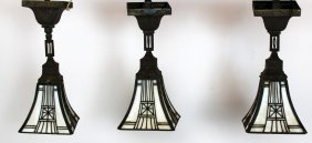 3 Bradley & Hubbard Stained Glass Pendant Lights