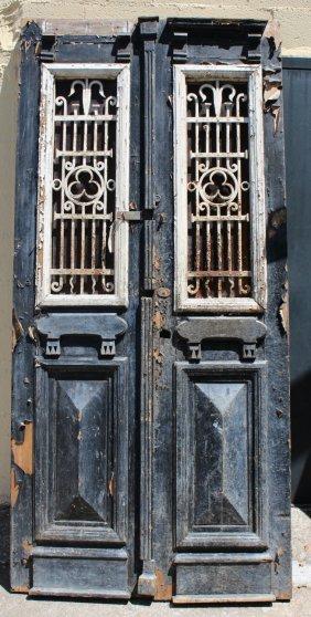 Pair Of Antique Wood & Iron Doors