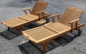 Lot Of 2 Teak Chaise Lounge Chairs
