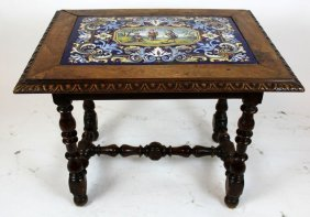 French Louis Xiii Table With Cobalt Tile