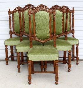 Set Of 6 Renaissance Style Oak Dining Chairs