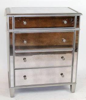 Mirrored & Silver Finish 4-drawer Chest