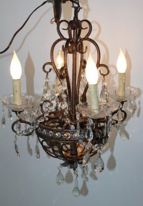 Small Iron & Crystal Chandelier