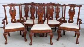 Set Of 8 Chippendale Style Mahogany Chairs