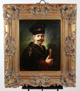 Oil On Canvas Portrait After Rembrandt Polish Nobleman