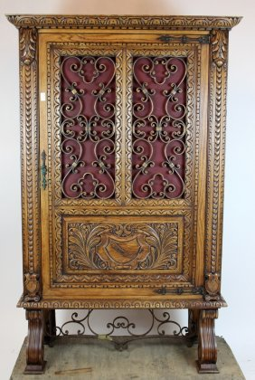 Spanish Carved Cabinet With Iron Door