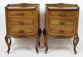 Pair Of French Louis Xv Style Walnut Chevets