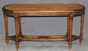 French Louis Xvi Caned Bench In Walnut