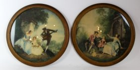 Pair Hand Colored Prints In Round Frames