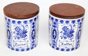 2 Delft Blue & White Canisters Sugar & Coffee