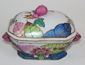 Porcelain Lidded Bowl In Tobacco Leaf