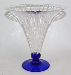 Flared And Fluted Crystal Vase On Cobalt Foot