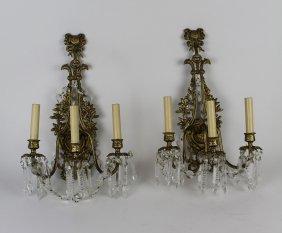 Pair Of Louis Xvi Style Brass Wall Sconces With Crystal