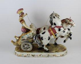 Capo Di Monte Italian Porcelain Roman Chariot