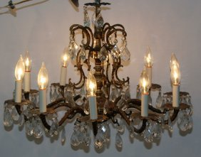 10 Light Bronze And Crystal Chandelier