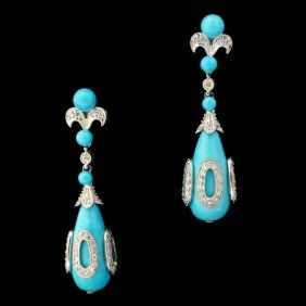 TURQUOISE, DIAMOND, 14K WHITE GOLD EARRINGS.