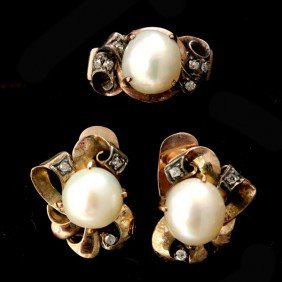 CULTURED PEARL, DIAMOND, 14K Y/G JEWELRY SUITE.