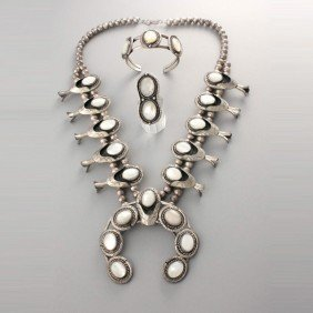 SUITE OF MOTHER-OF-PEARL, SILVER JEWELRY.