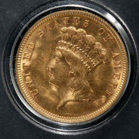 United States $3 Gold Coin, 1888, AU.