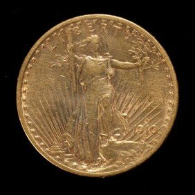 United States $20 Gold Coin, 1910-S, AU.