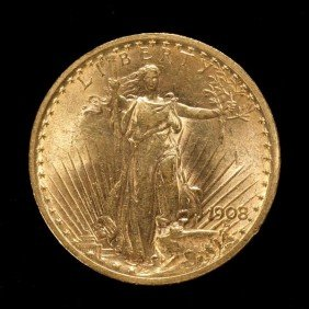 United States $20 Gold Coin, 1908, AU.