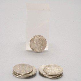 Collection Of Nine U.S. Peace Dollars.