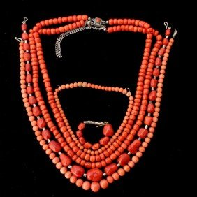 COLLECTION OF CORAL JEWELRY.