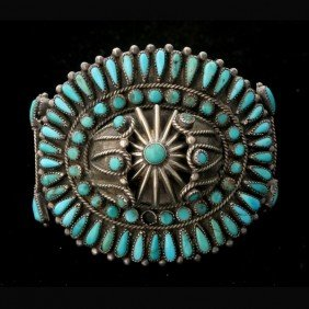 NATIVE AMERICAN TURQUOISE, SILVER BRACELET.