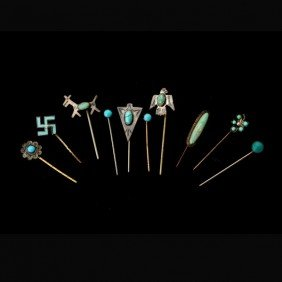 10 S/S, METAL, TURQUOISE, ENAMEL, GLASS STICKPINS.