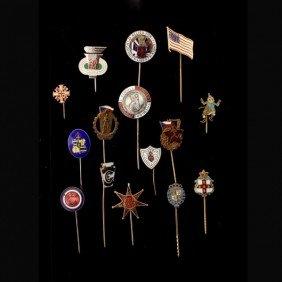 15 ENAMEL, METAL, YELLOW GOLD, SILVER STICK PINS.