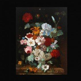 "Jan Van Huysum ""Still Life With Flowers"" Oil"