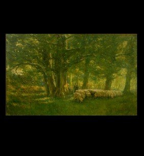 "French School ""Shepherd And Flock"" Oil"