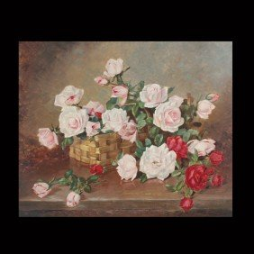 "Achille Lauge ""Basket Of Roses"" Oil"