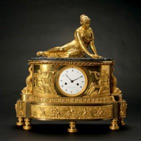 Empire Gilt Patinated Bronze Marble Clock