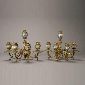 Pr Sevres Gilt Bronze Porcelain Bras De Lumiere