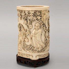 A Fine Ivory Brush Pot*, 19th Century