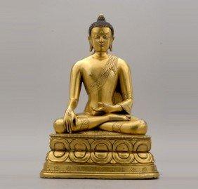 A Gilt-Bronze Seated Buddha Sakyamuni, Qing