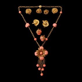 5 PIECES OF MARIAM HASKELL COSTUME JEWELRY.