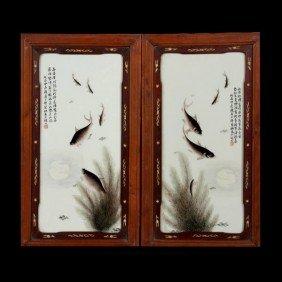 A Set Of Two Enamel-Painted Porcelain Plaques