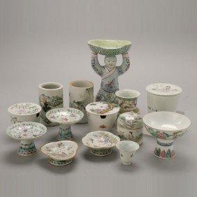 A Group Of Famille-Rose-Enameled Porcelains