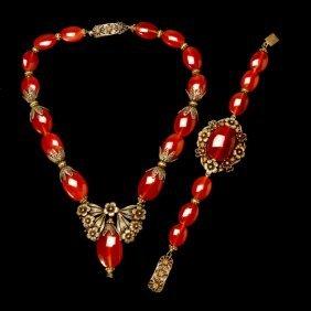 Carnelian Necklace & Bracelet Suite